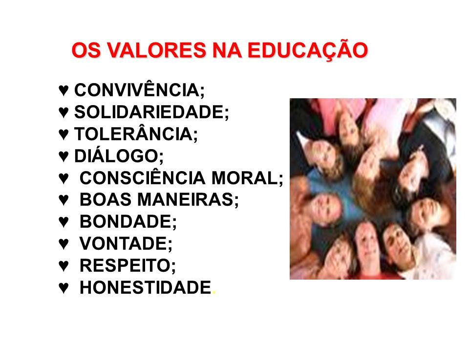 OS VALORES NA EDUCAÇÃO ♥ CONVIVÊNCIA; ♥ SOLIDARIEDADE; ♥ TOLERÂNCIA;