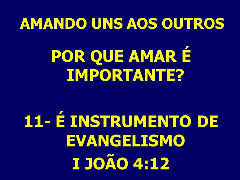 POR QUE AMAR É IMPORTANTE 11- É INSTRUMENTO DE EVANGELISMO