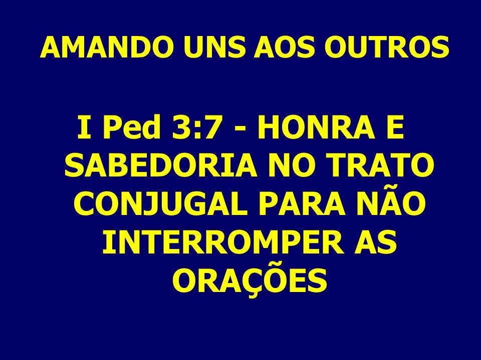 AMANDO UNS AOS OUTROS I Ped 3:7 - HONRA E SABEDORIA NO TRATO CONJUGAL PARA NÃO INTERROMPER AS ORAÇÕES.