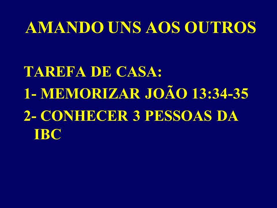AMANDO UNS AOS OUTROS TAREFA DE CASA: 1- MEMORIZAR JOÃO 13:34-35