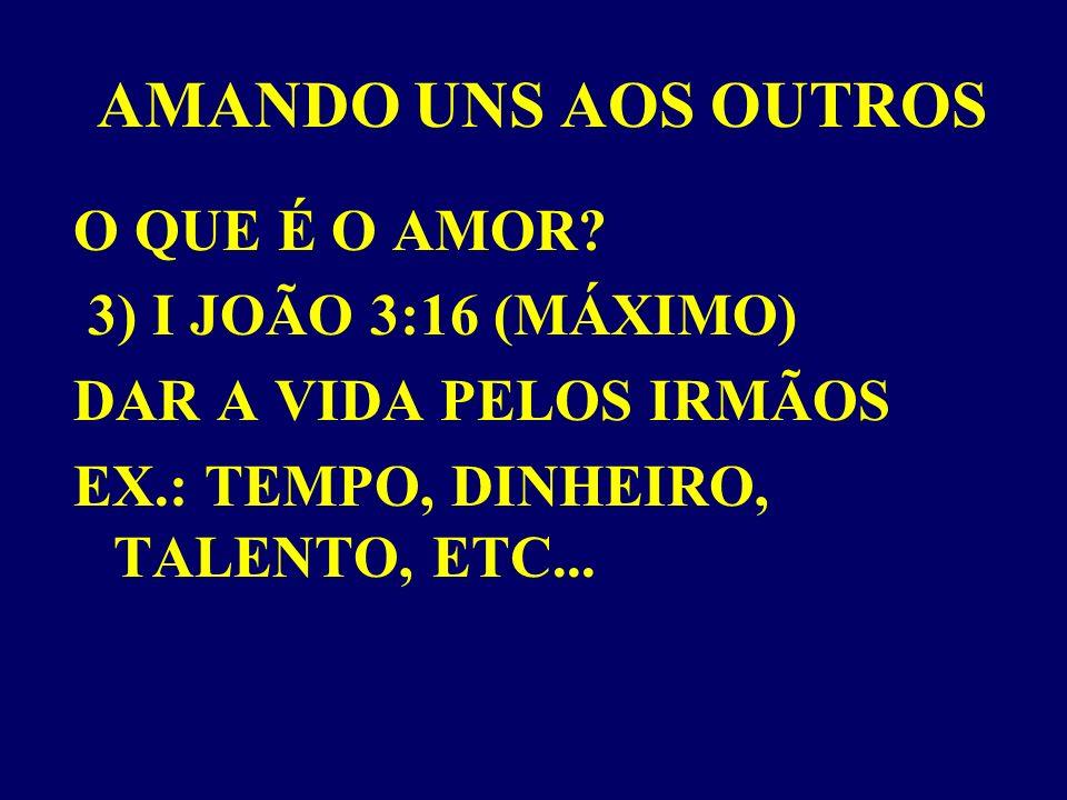 AMANDO UNS AOS OUTROS O QUE É O AMOR 3) I JOÃO 3:16 (MÁXIMO)