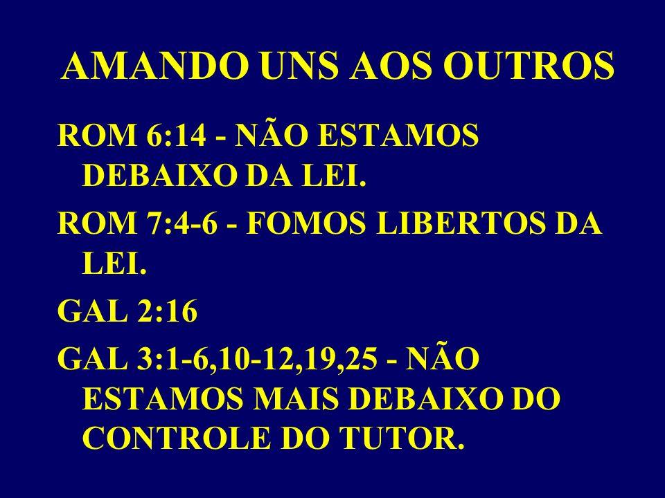 AMANDO UNS AOS OUTROS ROM 6:14 - NÃO ESTAMOS DEBAIXO DA LEI.