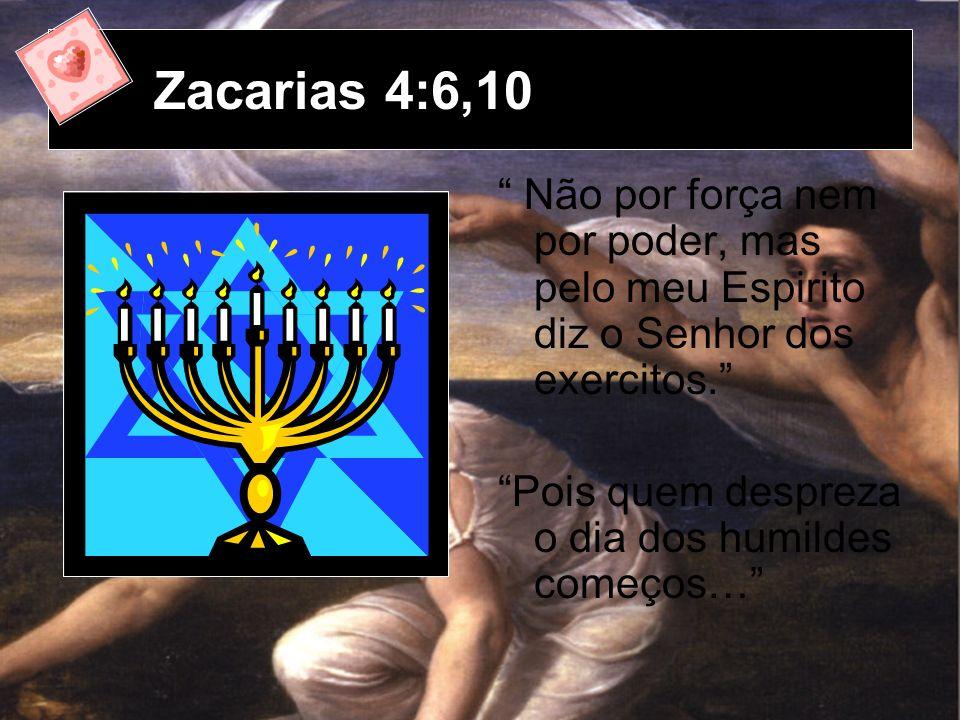 Zacarias 4:6,10 Não por força nem por poder, mas pelo meu Espirito diz o Senhor dos exercitos. Pois quem despreza o dia dos humildes começos…