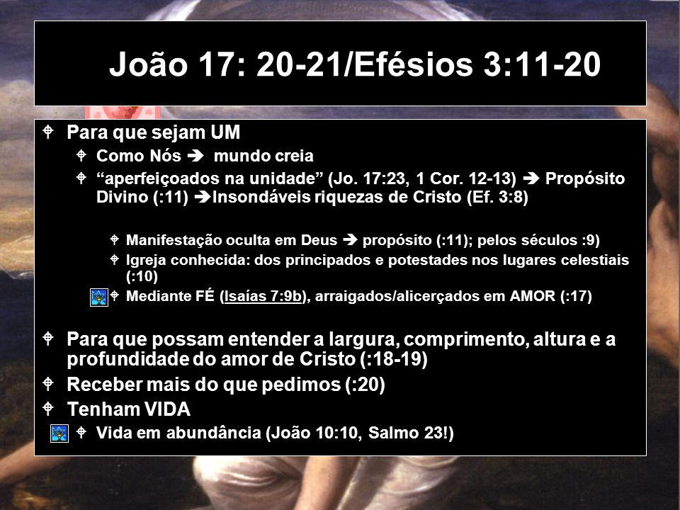 João 17: 20-21/Efésios 3:11-20 Para que sejam UM