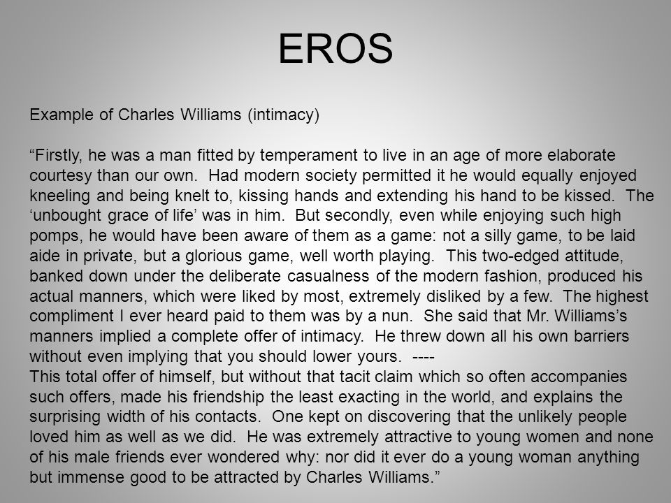 EROS Example of Charles Williams (intimacy)