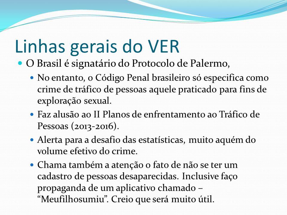 Linhas gerais do VER O Brasil é signatário do Protocolo de Palermo,