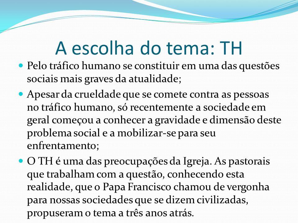 A escolha do tema: TH Pelo tráfico humano se constituir em uma das questões sociais mais graves da atualidade;