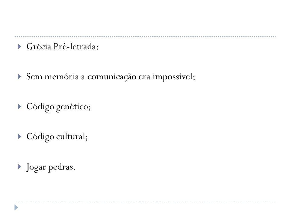 Grécia Pré-letrada: Sem memória a comunicação era impossível; Código genético; Código cultural; Jogar pedras.