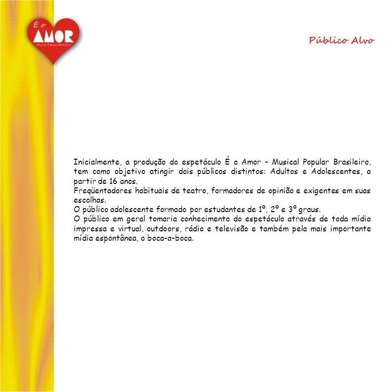 Inicialmente, a produção do espetáculo É o Amor - Musical Popular Brasileiro, tem como objetivo atingir dois públicos distintos: Adultos e Adolescentes, a partir de 16 anos.