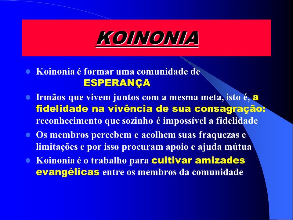 KOINONIA Koinonia é formar uma comunidade de ESPERANÇA