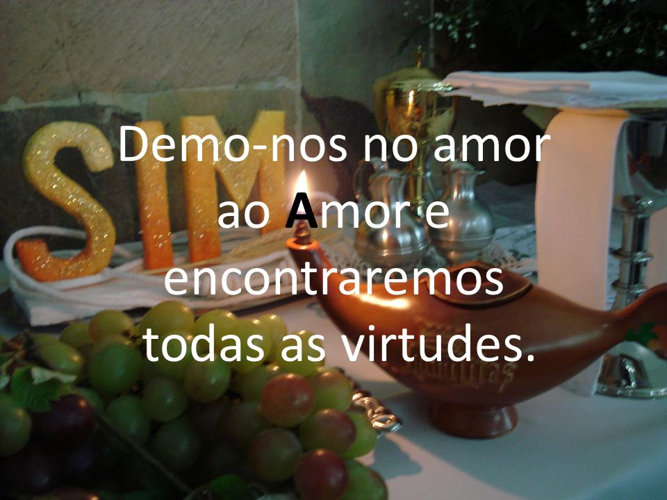 Demo-nos no amor ao Amor e encontraremos todas as virtudes.