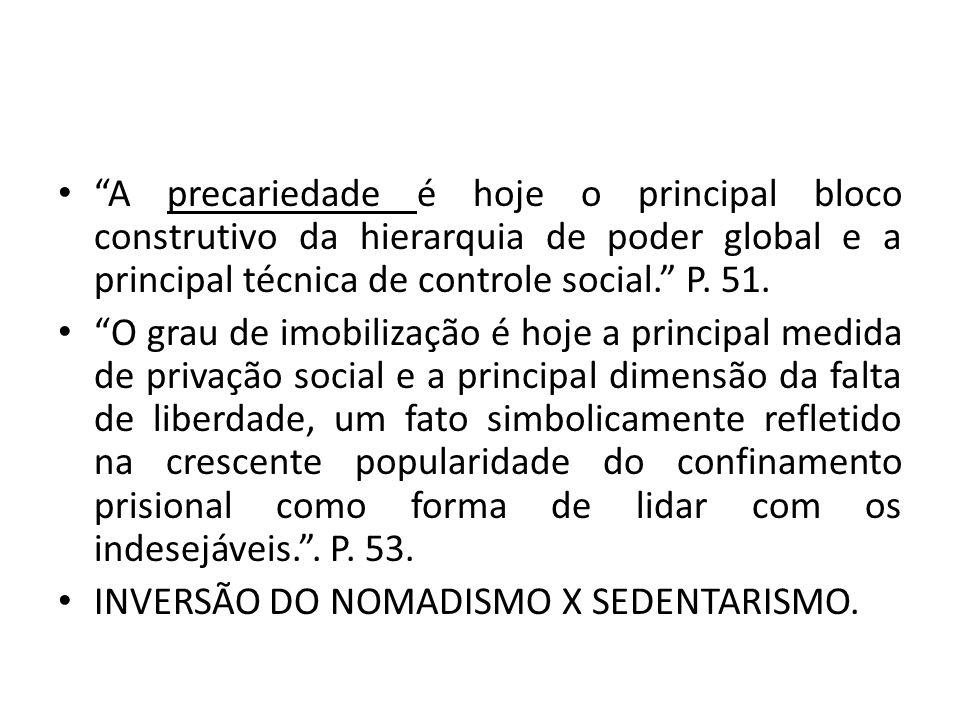 A precariedade é hoje o principal bloco construtivo da hierarquia de poder global e a principal técnica de controle social. P. 51.