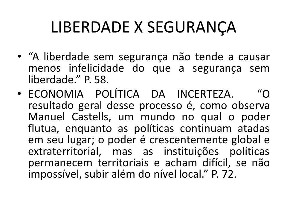 LIBERDADE X SEGURANÇA A liberdade sem segurança não tende a causar menos infelicidade do que a segurança sem liberdade. P. 58.