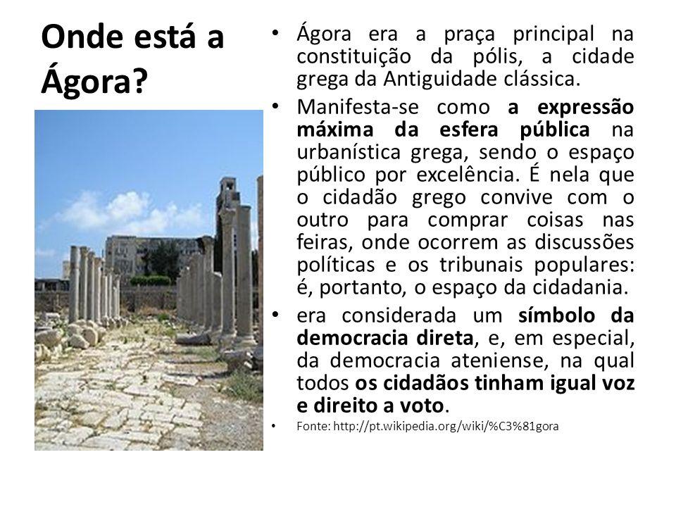 Onde está a Ágora Ágora era a praça principal na constituição da pólis, a cidade grega da Antiguidade clássica.