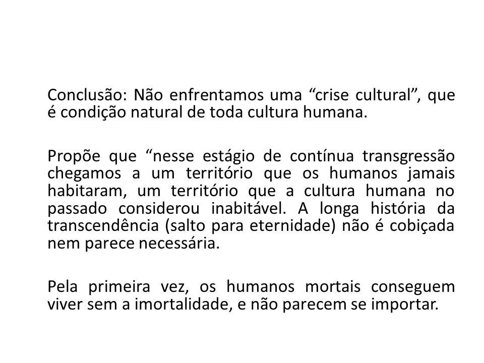 Conclusão: Não enfrentamos uma crise cultural , que é condição natural de toda cultura humana.