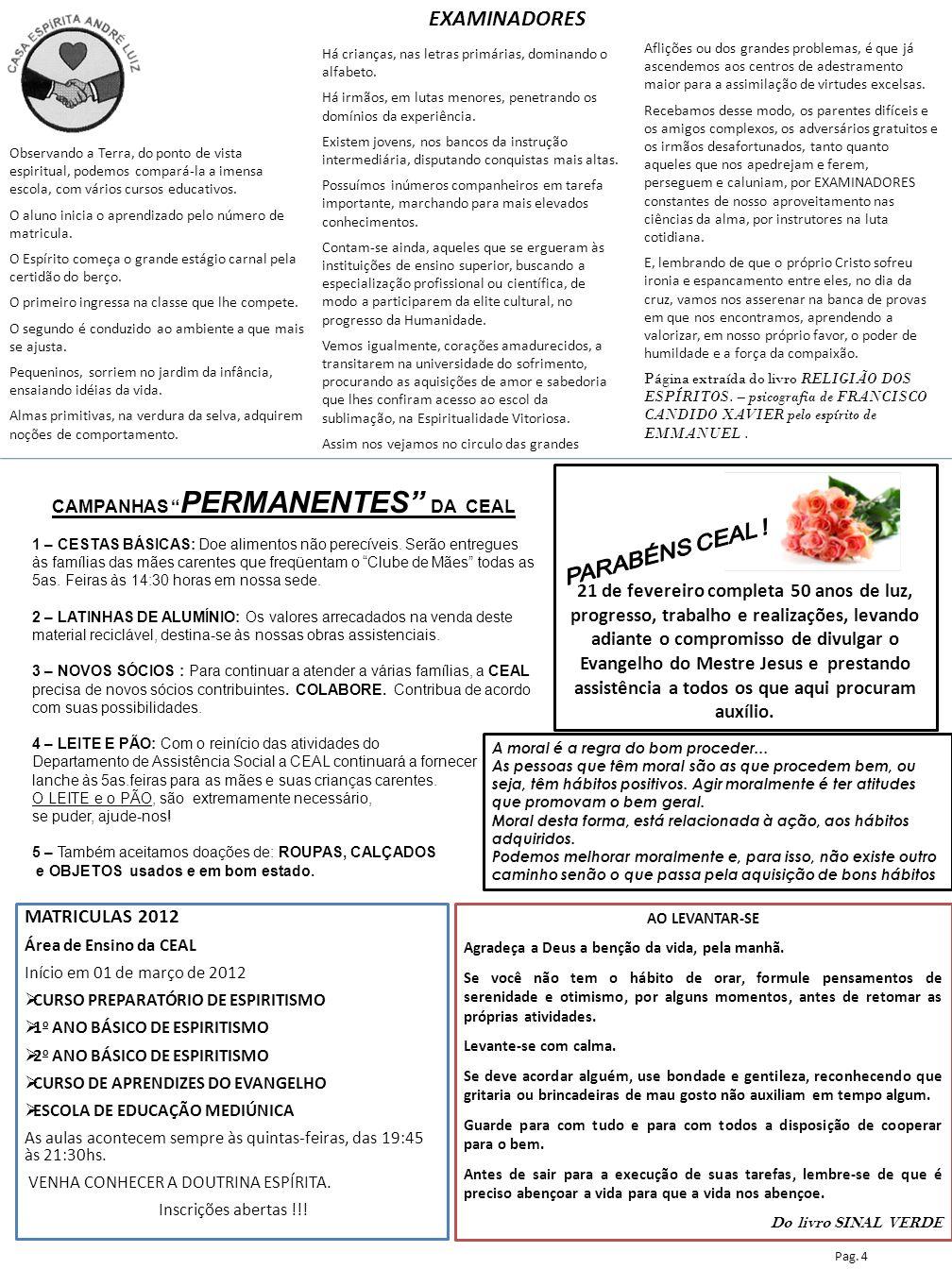 CAMPANHAS PERMANENTES DA CEAL