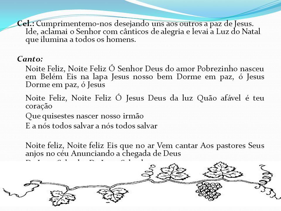 Cel. : Cumprimentemo-nos desejando uns aos outros a paz de Jesus