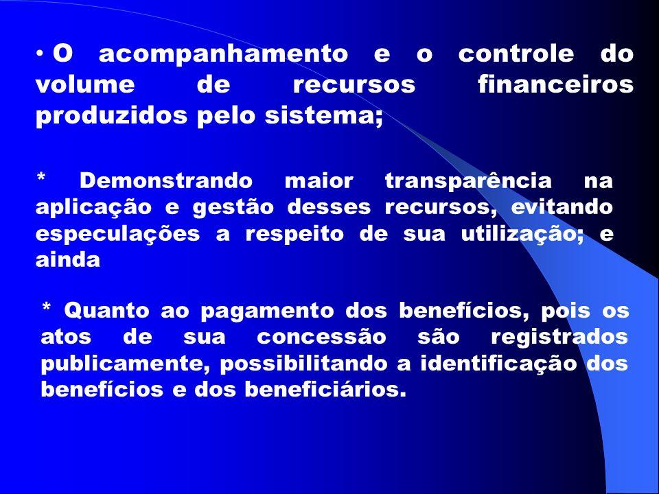 O acompanhamento e o controle do volume de recursos financeiros produzidos pelo sistema;