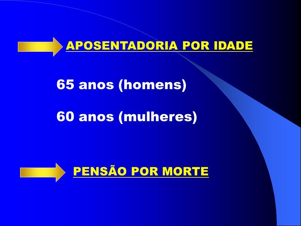 65 anos (homens) 60 anos (mulheres) APOSENTADORIA POR IDADE