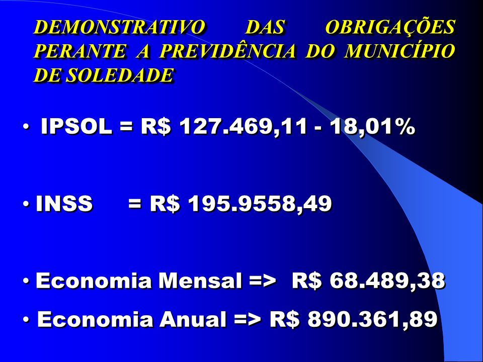 Economia Mensal => R$ 68.489,38 Economia Anual => R$ 890.361,89