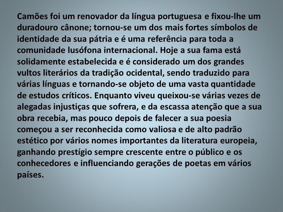 Camões foi um renovador da língua portuguesa e fixou-lhe um duradouro cânone; tornou-se um dos mais fortes símbolos de identidade da sua pátria e é uma referência para toda a comunidade lusófona internacional.