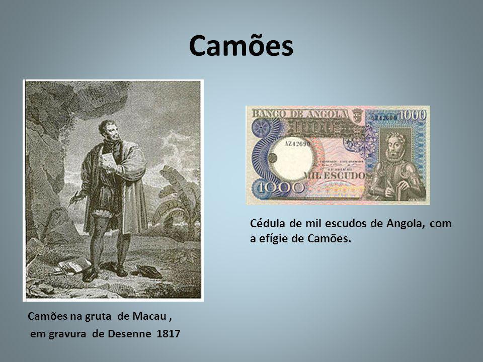 Camões Cédula de mil escudos de Angola, com a efígie de Camões.