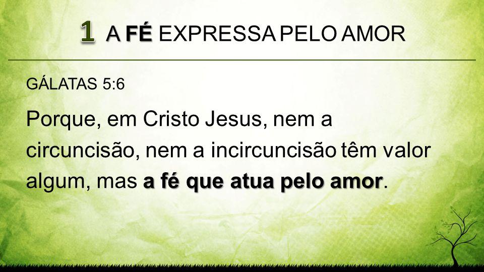 1 A FÉ EXPRESSA PELO AMOR. GÁLATAS 5:6.