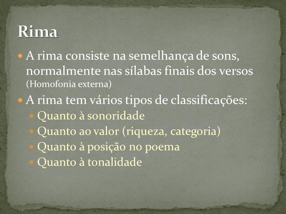 Rima A rima consiste na semelhança de sons, normalmente nas sílabas finais dos versos (Homofonia externa)