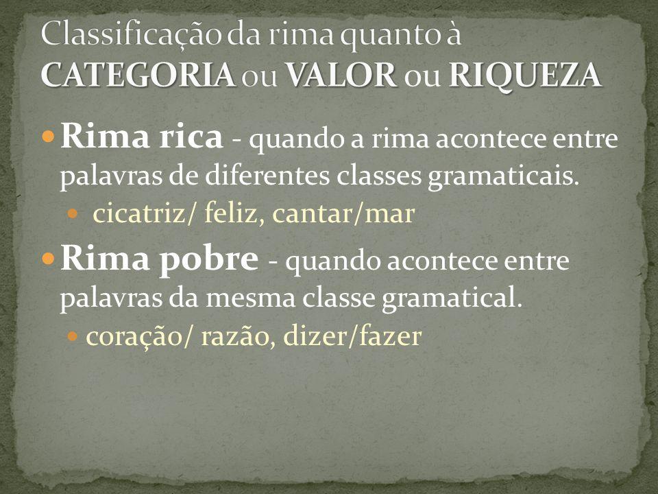 Classificação da rima quanto à CATEGORIA ou VALOR ou RIQUEZA