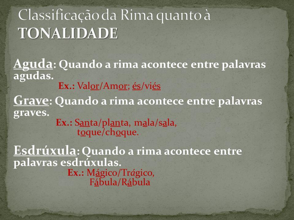 Classificação da Rima quanto à TONALIDADE