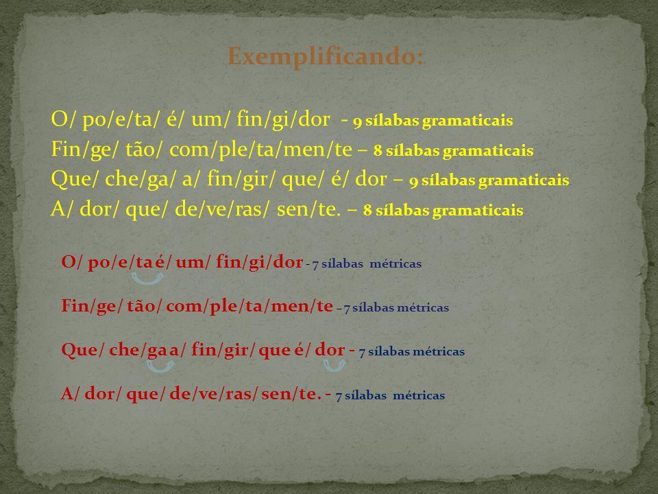 Exemplificando: O/ po/e/ta/ é/ um/ fin/gi/dor - 9 sílabas gramaticais
