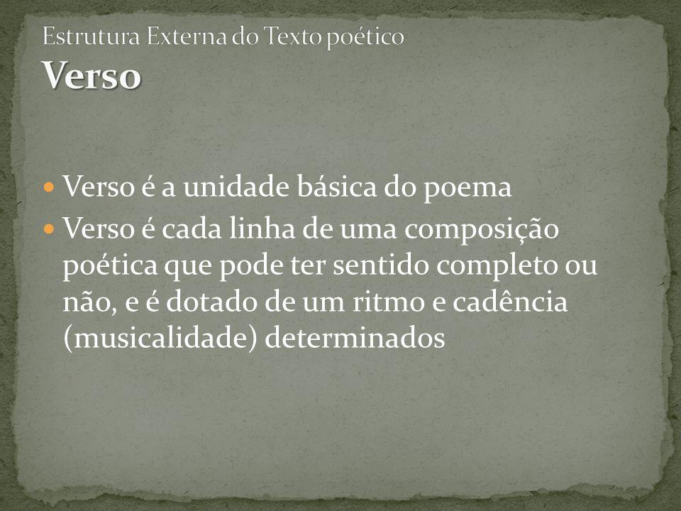 Estrutura Externa do Texto poético Verso