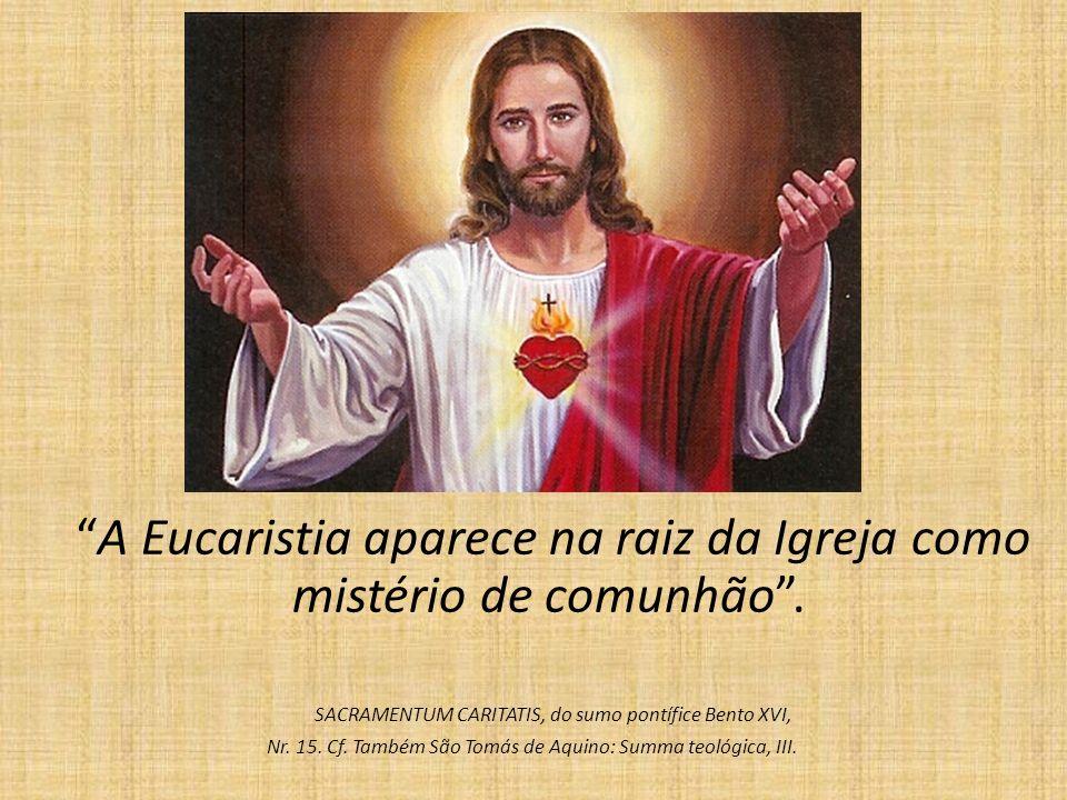 A Eucaristia aparece na raiz da Igreja como mistério de comunhão .