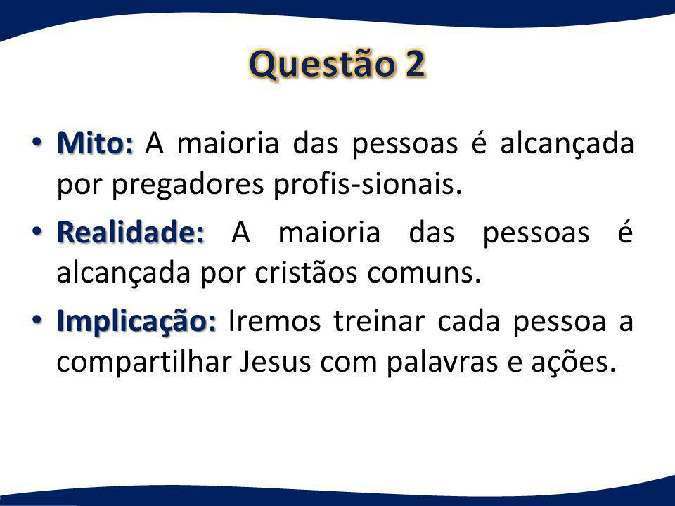 Questão 2 Mito: A maioria das pessoas é alcançada por pregadores profis-sionais. Realidade: A maioria das pessoas é alcançada por cristãos comuns.