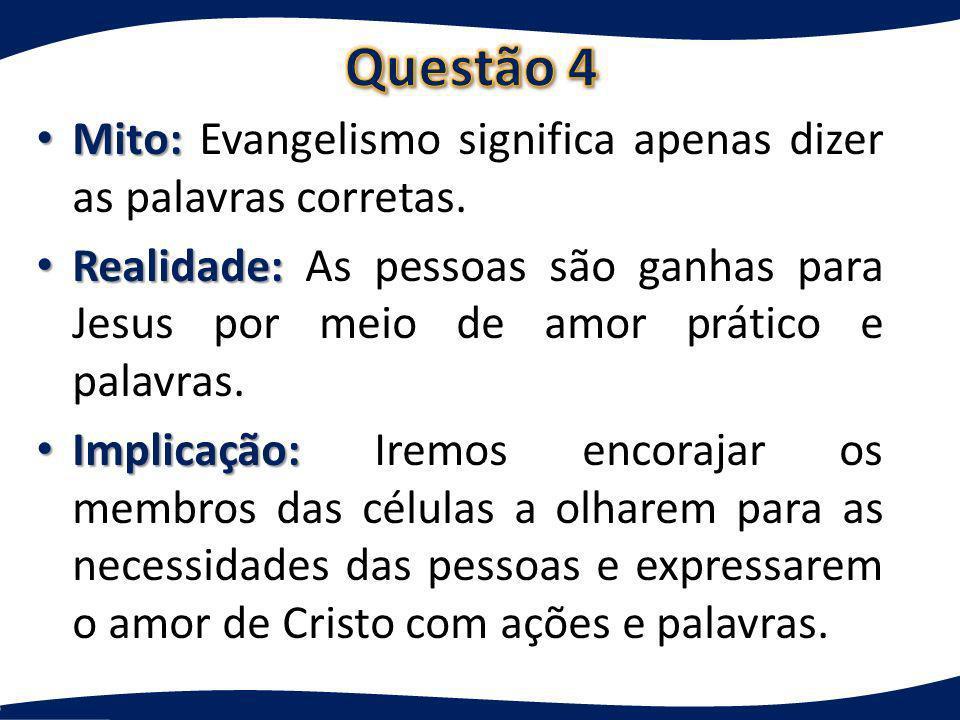 Questão 4 Mito: Evangelismo significa apenas dizer as palavras corretas.