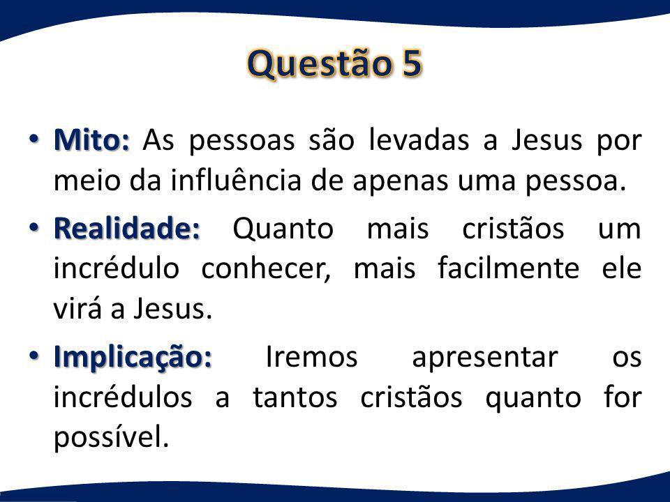 Questão 5 Mito: As pessoas são levadas a Jesus por meio da influência de apenas uma pessoa.