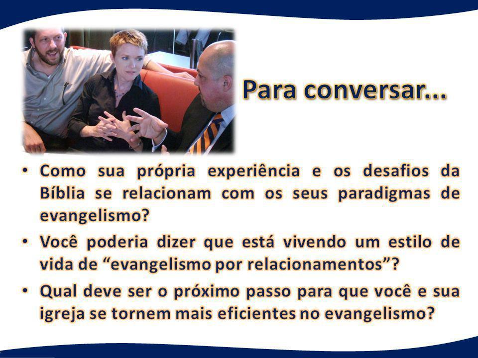 Para conversar... Como sua própria experiência e os desafios da Bíblia se relacionam com os seus paradigmas de evangelismo