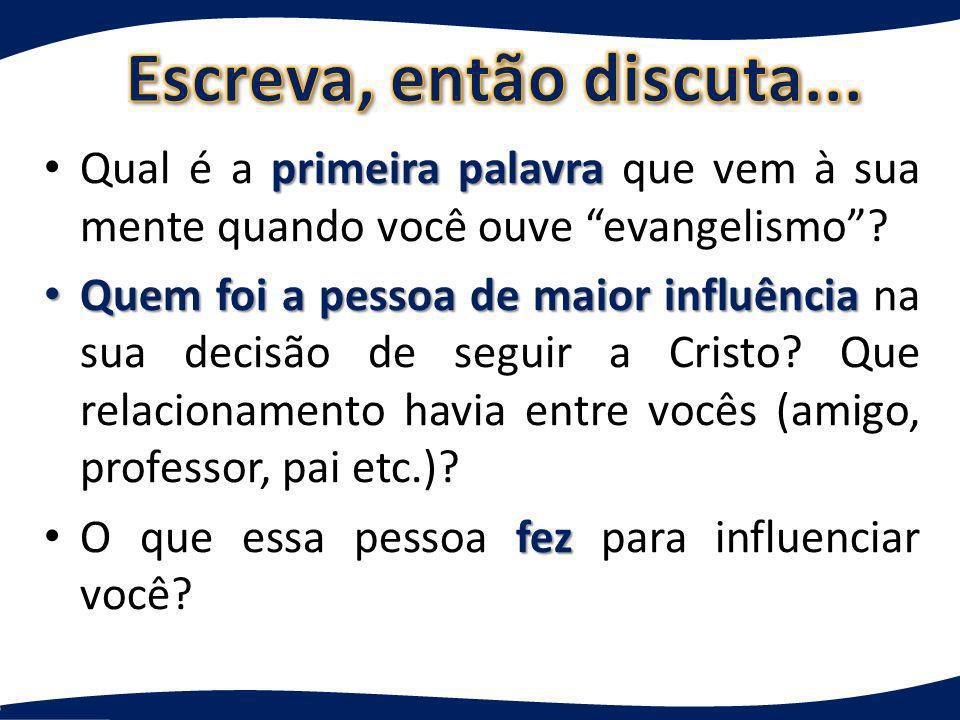 Escreva, então discuta... Qual é a primeira palavra que vem à sua mente quando você ouve evangelismo