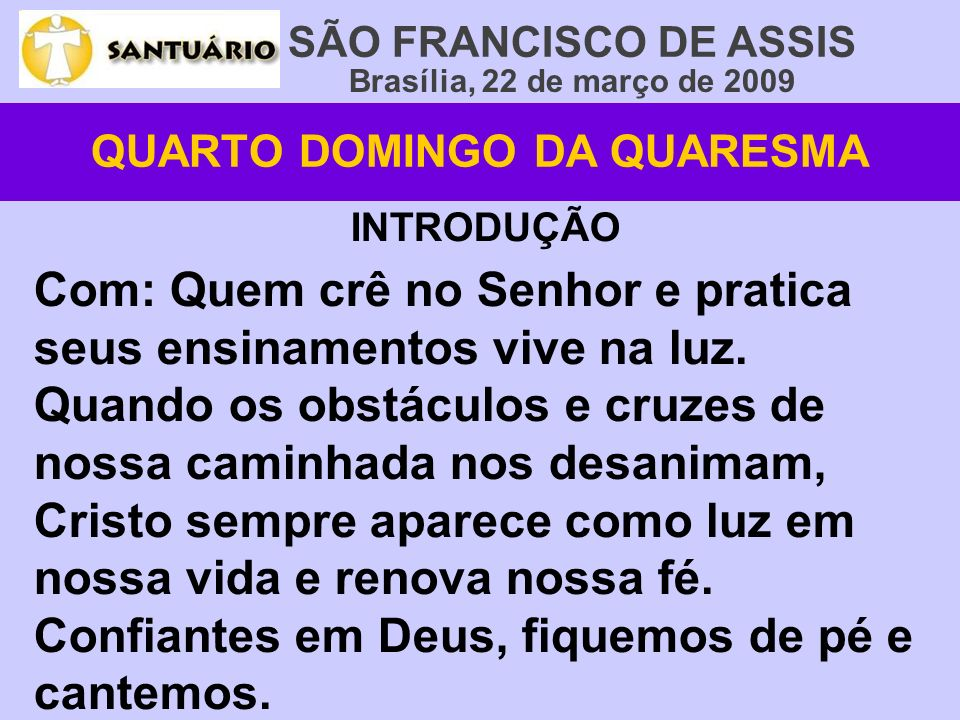 QUARTO DOMINGO DA QUARESMA