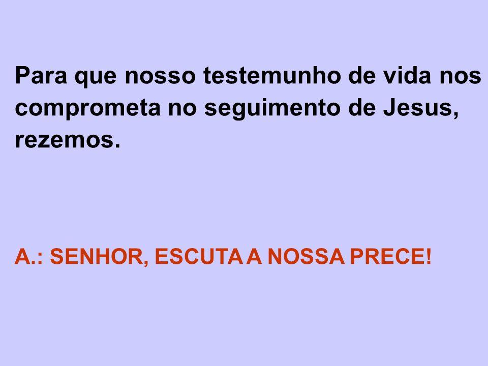 Para que nosso testemunho de vida nos comprometa no seguimento de Jesus, rezemos.