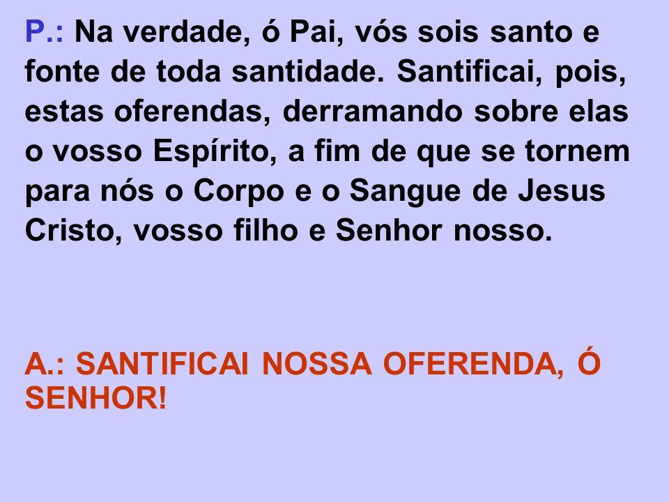 P. : Na verdade, ó Pai, vós sois santo e fonte de toda santidade