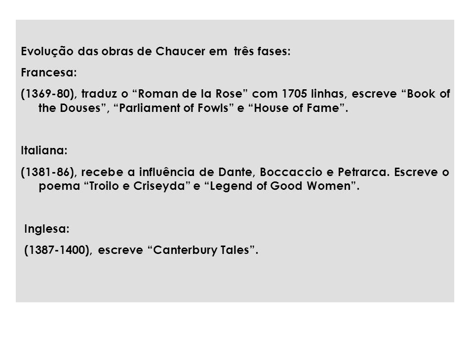 Evolução das obras de Chaucer em três fases: Francesa: