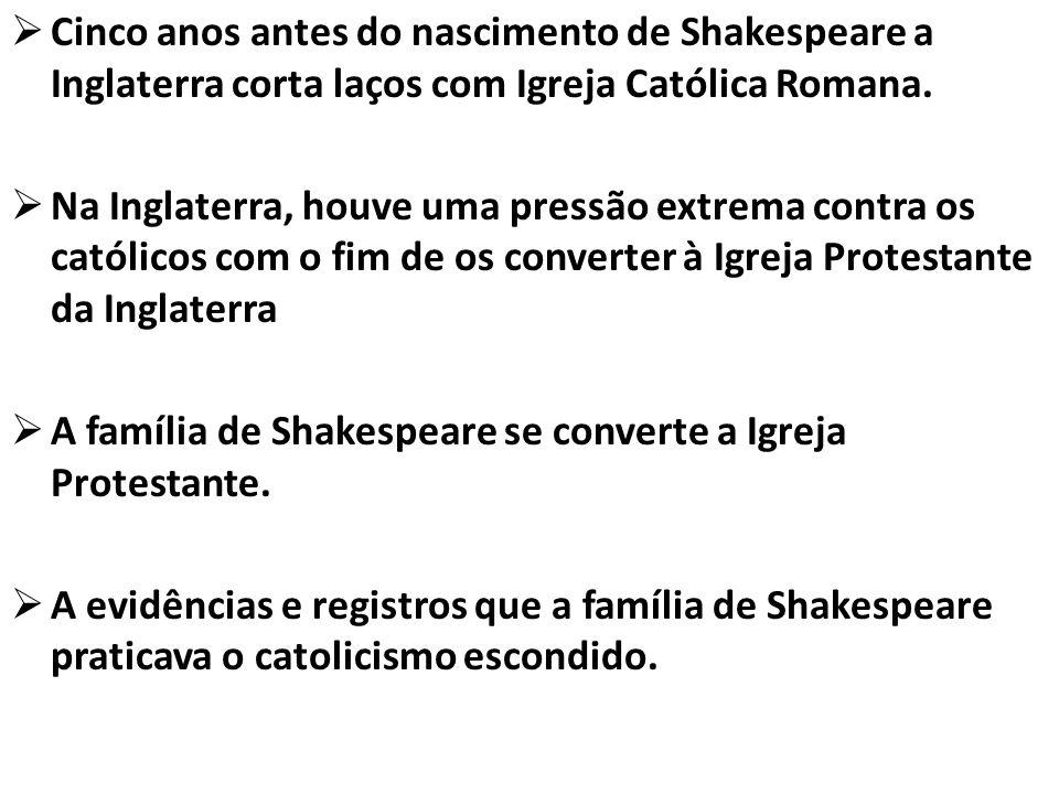 Cinco anos antes do nascimento de Shakespeare a Inglaterra corta laços com Igreja Católica Romana.