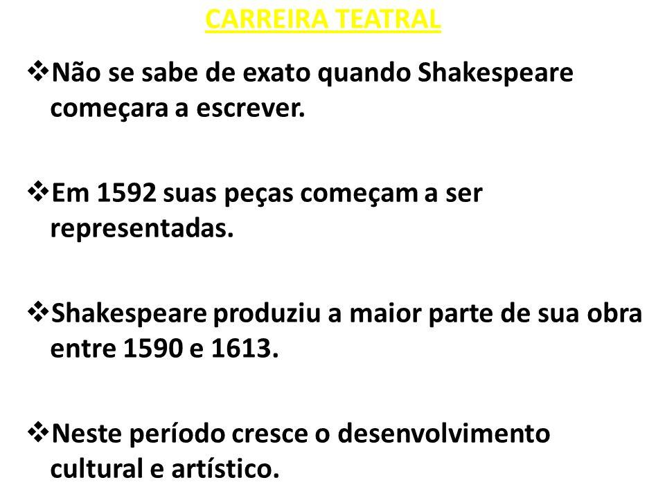 CARREIRA TEATRAL Não se sabe de exato quando Shakespeare começara a escrever. Em 1592 suas peças começam a ser representadas.