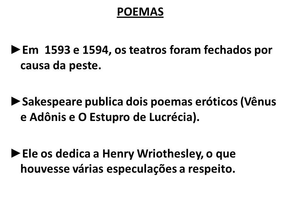 POEMAS Em 1593 e 1594, os teatros foram fechados por causa da peste.