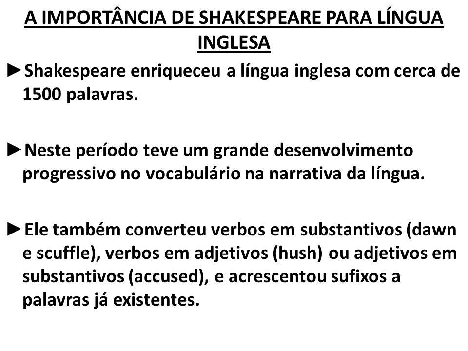A IMPORTÂNCIA DE SHAKESPEARE PARA LÍNGUA INGLESA