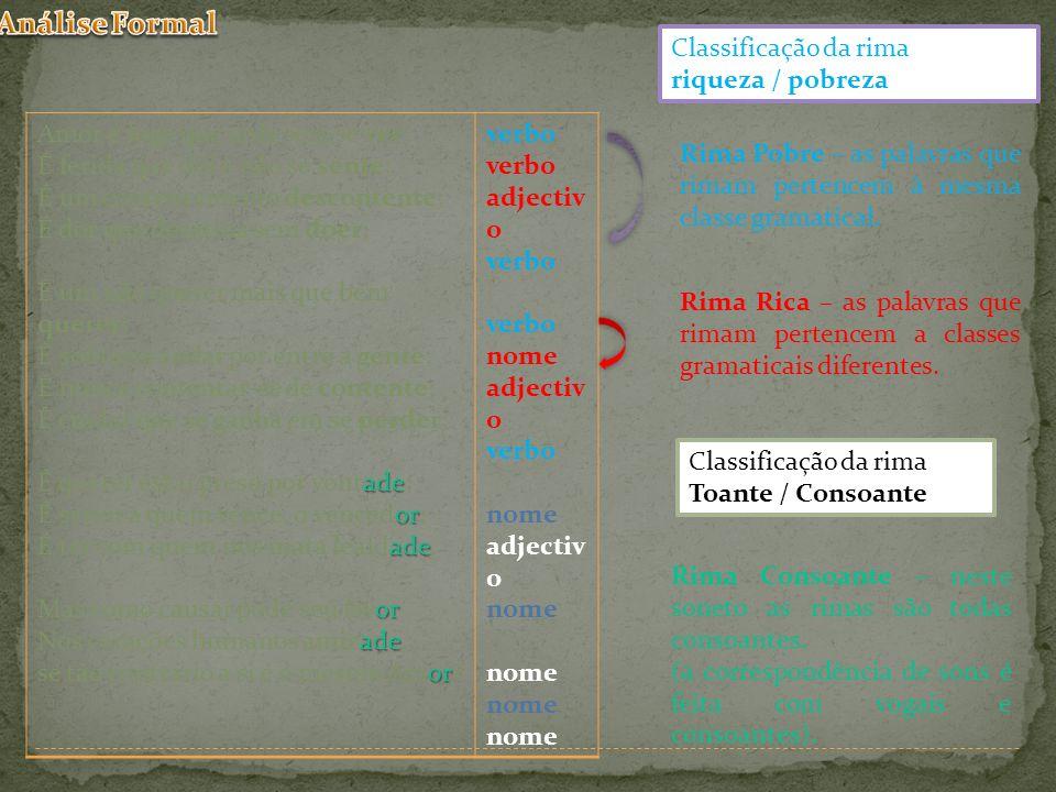 Análise Formal Classificação da rima riqueza / pobreza