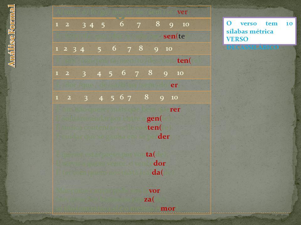 Análise Formal A/mor/ é/ fo/go/ que ar/de /sem /se /ver;