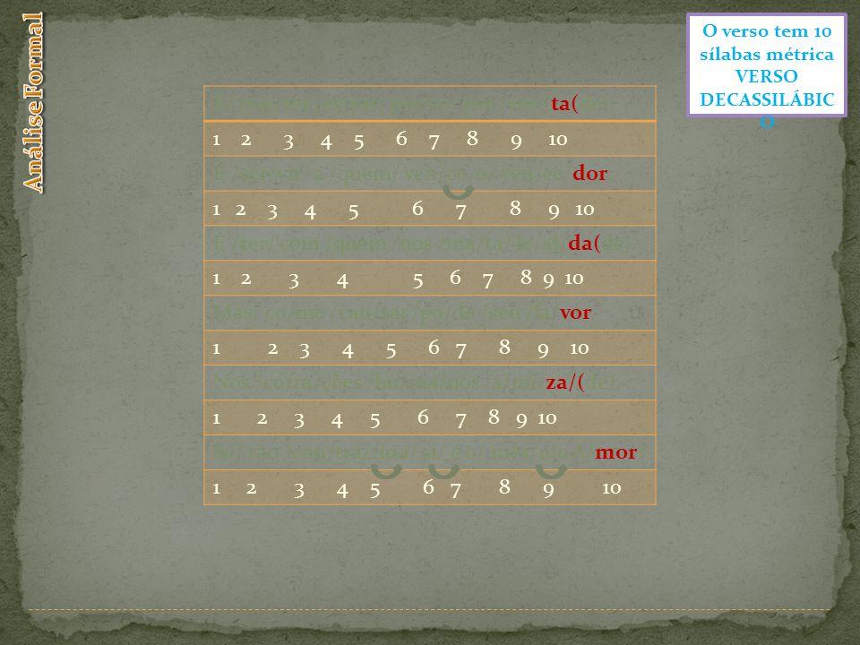 O verso tem 10 sílabas métrica