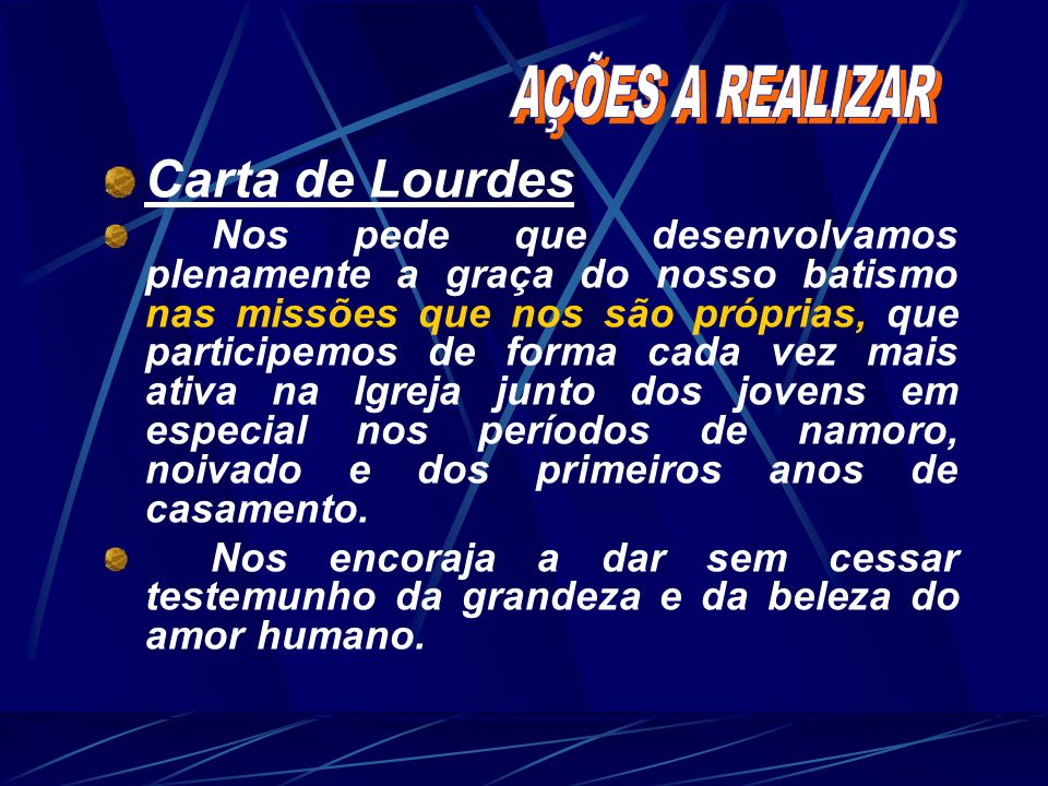 Carta de Lourdes AÇÕES A REALIZAR